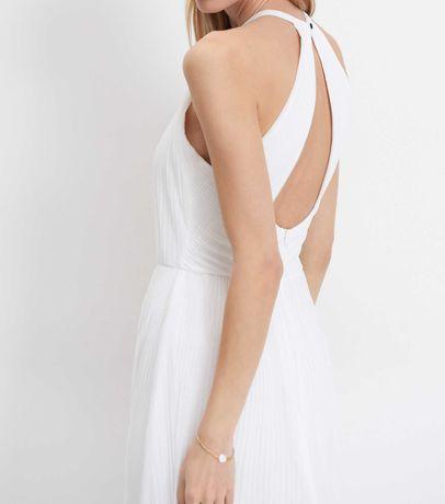 sukienka mohito długa biała szyfon do ślubu poprawiny nowa 36 s m