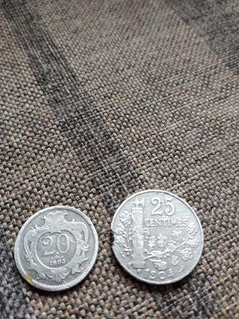 Монеты 25 centimes 1904 г. И 20 геллер 1893