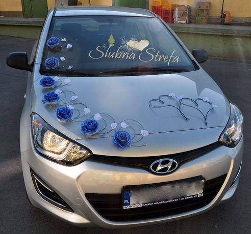 Dekoracja na samochód ozdoby na auto siódemka chabrowa szafirowa
