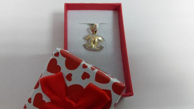 Złota zawieszka Chanel z cyrkoniami złoto 585