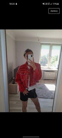 Kurtka jeansowa czerwona