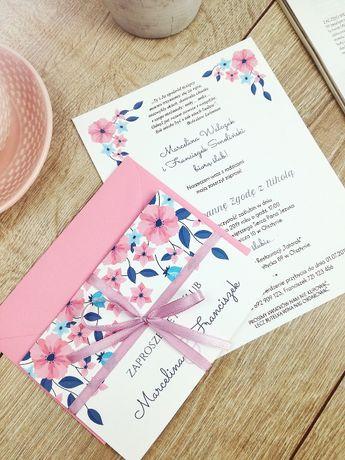 Zaproszenia ślubne z kopertą - LUX, śliczne, składane, z kokardką