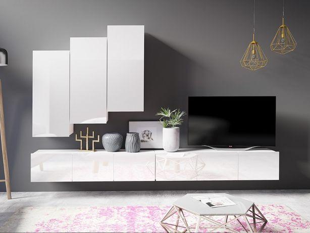 MEBLOŚCIANKA CORONA XV kolory zestaw salonowy nowoczesny połysk dąb