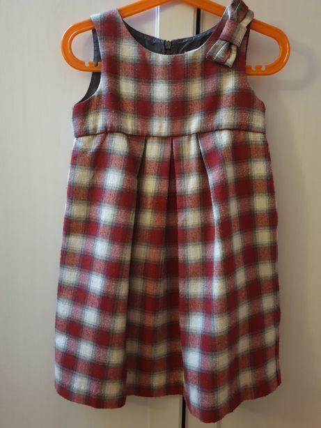Zadbana sukienka dziewczęca kratka, kokardka Coolclub r. 104