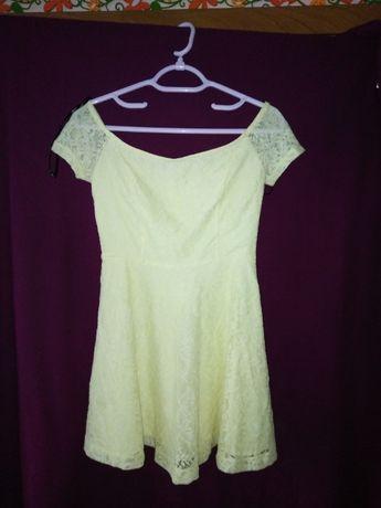 Koronkowa sukienka jasnożółta Forever21