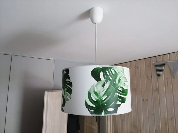 Lampa wisząca liście, abażur monstera, zwis sufitowy