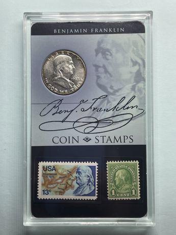 Продам набор ! Серебренная монета Бенджамин Франклин плюс две марки!