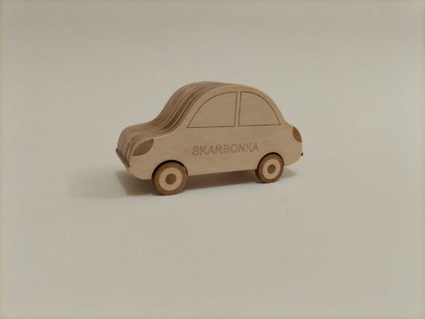 Skarbonka samochodzik autko z drewna