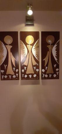 Obrazy-tryptyk 'Anioły Szczęścia '