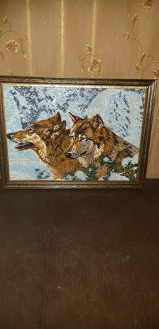 Зимові вовки бісером