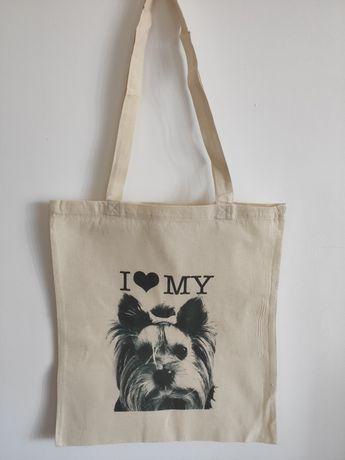 Bawełniana torba ekologiczna EKO z nadrukiem Yorka idealna na zakupy.
