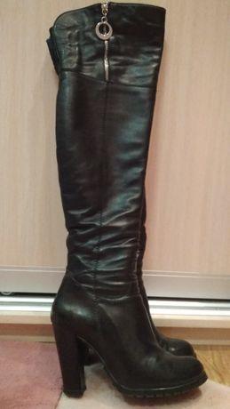 Сапоги - ботфорты кожаные евро-зима.
