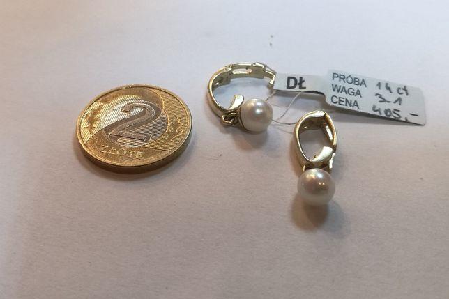 K. zawieszka PEREŁKI, bardzo ładne, złoto 585