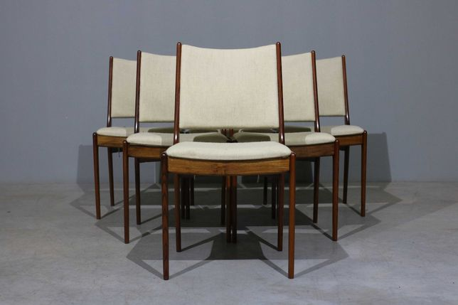 6 cadeiras de jantar em pau santo | Mobiliário nórdico