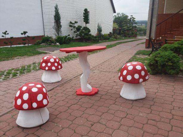 Krzesełko grzybek drewniane dla dzieci