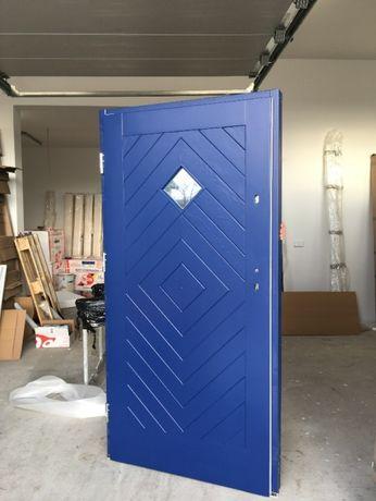 Drzwi zewnetrzne góralskie RAL niebieskie