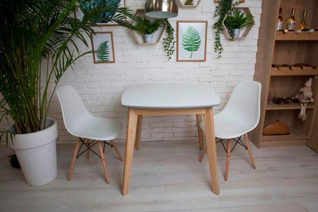 Кухонный стол белый квадратный, обеденный стол, кухонний стіл