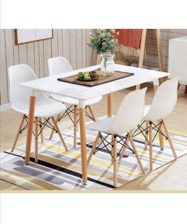 Stół biało drewniany 120x80
