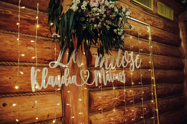 Napis ślubny na ściankę