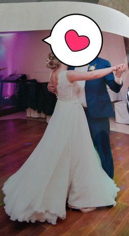 Ślubna Sukienka Plus welon.