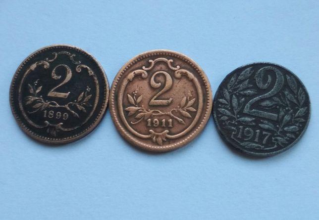 Moneta, Austria, 2 Heller, 1899, 1911, 1917.