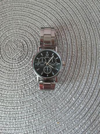 Męski srebrny czarny zegarek na bransolecie bransoleta nowy
