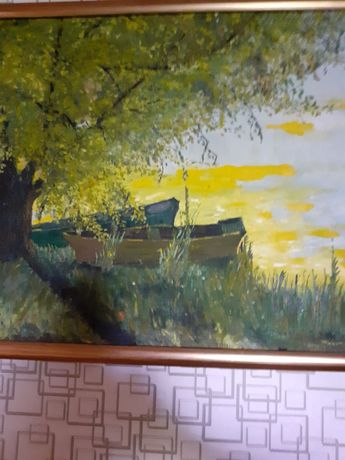 Картина,,Човни,,олійна фарба 62×45