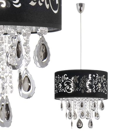 Kryształowa lampa SORRENTO abażur tkanina czarna Nowodvorski 4198