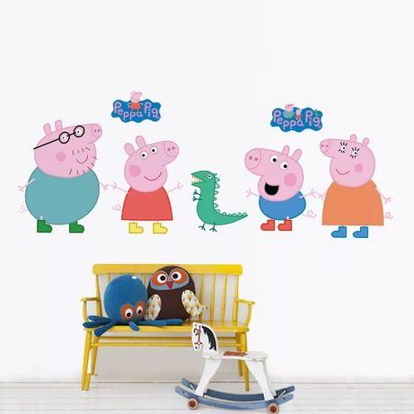 Вінілові наліпки на стіну Виниловые наклейки на стену Пеппа Peppa pig