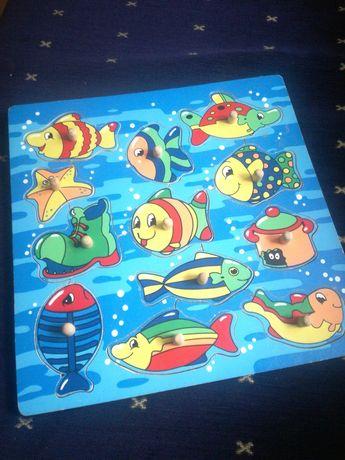 Ukladanka drewniana puzzle rybki