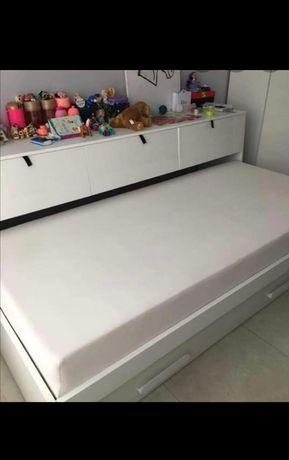 Łóżko funkcjonalne, młodzieżowe z nadstawką i podwójnym spaniem.