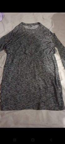 Dzianinowa sukienka szara H&M