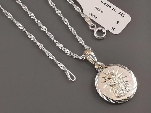 Srebrny łańcuszek z medalikiem