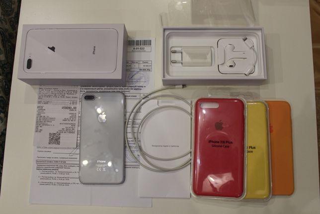 Apple iPhone 8 Plus 64 ГБ Silver Ростест + 3 бампера (27000р)