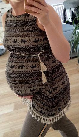 Tunika bluzka ciążowa azteckie wzory frędzle M
