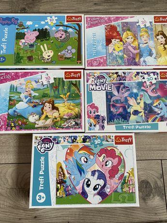 Puzzle trefl, peppa, my little pony, princess księżniczki