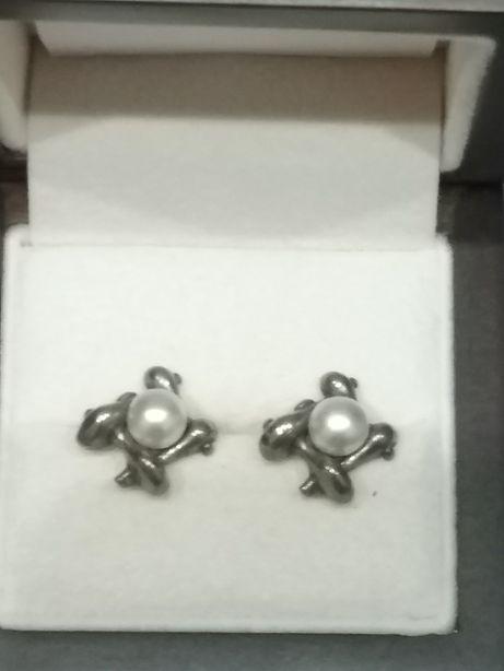 Kolczyki srebrne z perłami