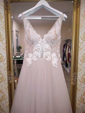Suknia ślubna tiul koronka pudrowy róż
