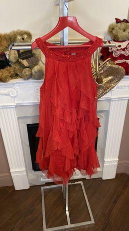 Zara красное праздничное  платье13/14лет