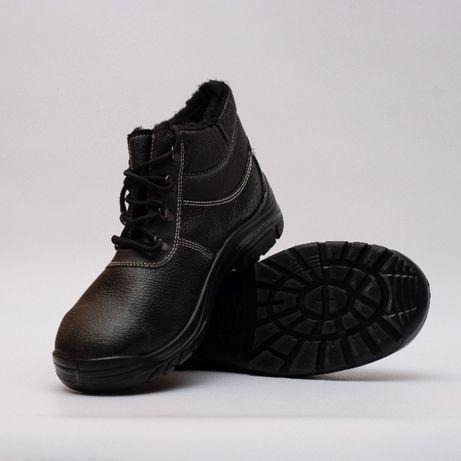 БОТИНКИ мужские УТЕПЛЕННЫЕ Рабочие. КОЖА + МЕХ зимняя спец обувь