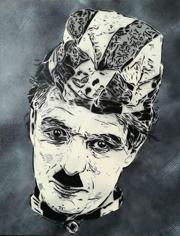 Charlie Chaplin pintura original em tela