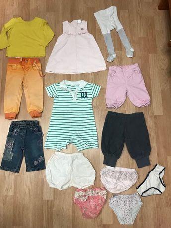 Пакет одежды 13шт. 1-2 года девочке штаны платье колготы трусы боди