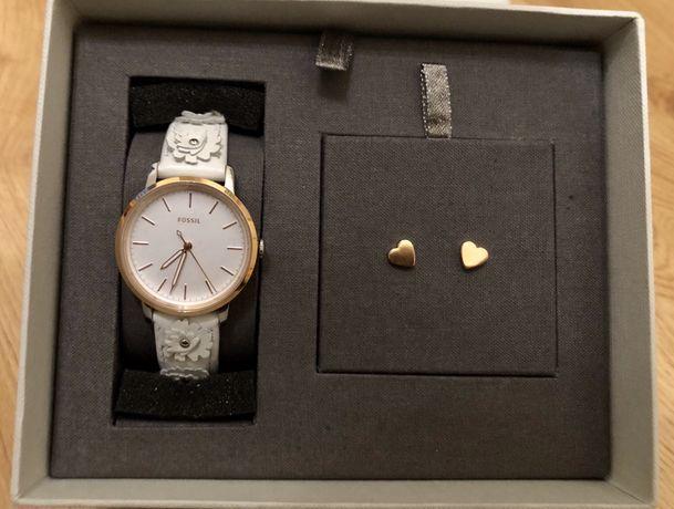 FOSSIL NEELY SET zegarek złoto biały i kolczyki serduszka cudo!