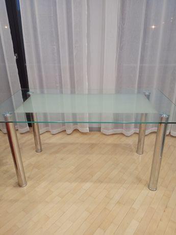 Stół szklany,aluminiowe nogi