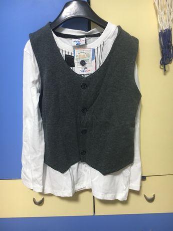 Рубашка новая белая h&m р. 122, лонгслив 128.