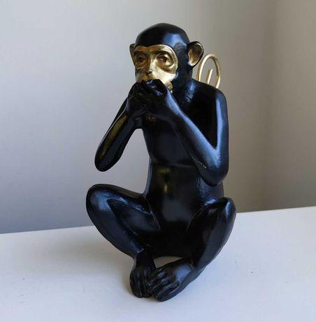 Macacos Sábios - Macaco a tapar a boca Preto & Dourado Eclectico