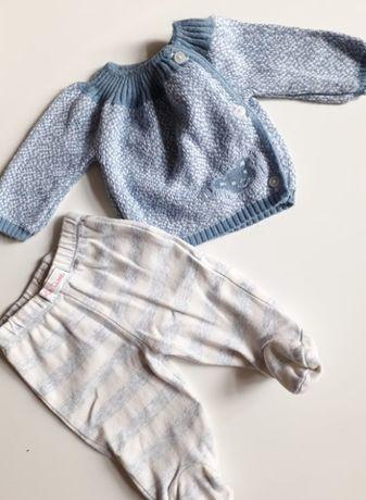 Piękny Sweterek błękitny spodenki r 50 dla noworodka