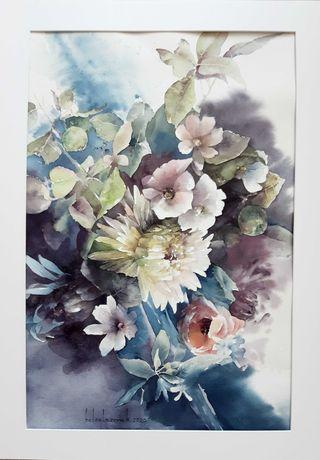 Хризантема, картина акварелью, цветы, хризантемы, букет