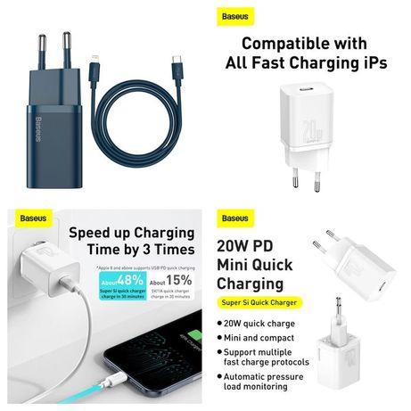 Carregador Iphone Fast Charge 20W C/ cabo Azul/Branco -Baseus-Novo