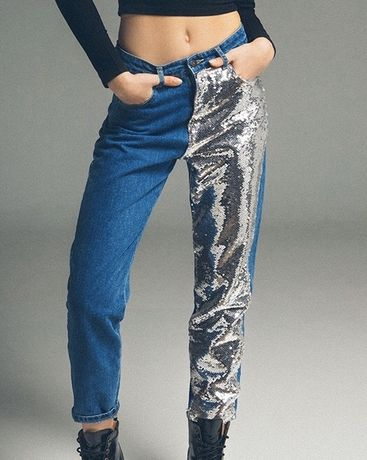 Spodnie, dżinsy, cekiny Bershka r.36